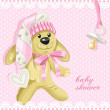 Baby shower card with pink soft toy rabbit and baby's dummy — Stok Vektör