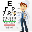 Stock Vector: Cute men doctor - optometrist points to the table for testing vi