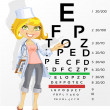 Cute woman doctor - optometrist points to the table for testing — Grafika wektorowa
