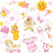 Seamless pattern of clothing, toy and stuff it's a girl — Stockvectorbeeld