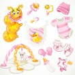 Set of pink baby toys objects clothes and things — Stock Vector
