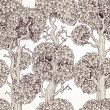 Cтоковый вектор: Seamless pattern of enchanted old trees graphic draw