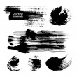 Thick strokes of black paint on textured paper — Stock Vector