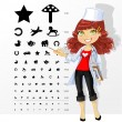 Stock Vector: Woman doctor - ophthalmologist shows children's table for eye te