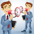 Cute businessman speaks in megaphone — Stock Vector