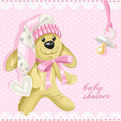 Baby shower card with pink soft toy rabbit and baby's dummy — Stock vektor