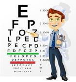 Cute men doctor - optometrist points to the table for testing vi — Stock Vector