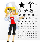 Cute woman doctor - ophthalmologist shows children's table for e — Vettoriale Stock