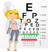 Cute woman doctor - optometrist points to the table for testing — Stock Vector