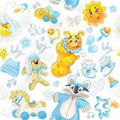 Seamless pattern of clothing, toy and stuff it's a boy — Stock Vector