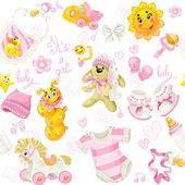 Seamless pattern of clothing, toy and stuff it's a girl — Stock Vector