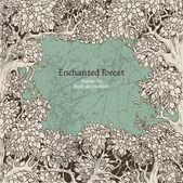 Marco de bosque encantado oscuro de decoración de texto — Vector de stock
