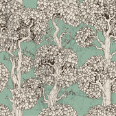 Seamless pattern of dark enchanted old trees graphic draw — Stok Vektör