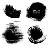 Smears and fingerprints thick black paint on textured paper — Stock Vector