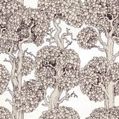 Seamless pattern of enchanted old trees graphic draw — Stok Vektör