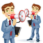 Cute businessman speaks in megaphone isolated on white backgroun — Stock Vector