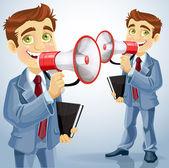 Cute businessman speaks in megaphone — Stock Vector
