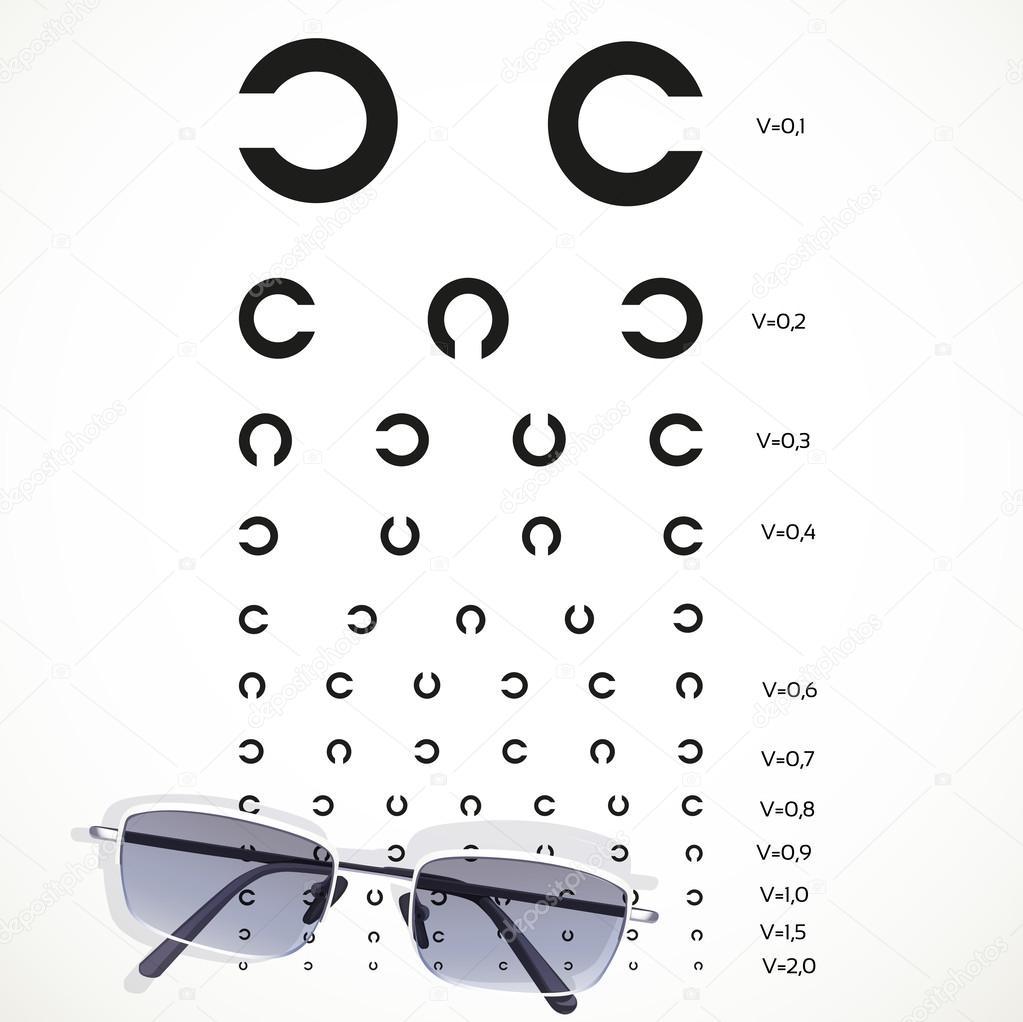 tableau pour les tests d 39 yeux avec des lunettes sur fond blanc image vectorielle yadviga. Black Bedroom Furniture Sets. Home Design Ideas