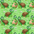 Seamless pattern with cartoon turtles on a green meadow with dai — Stock Vector #27617963