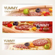 Vector horizontal banners with tasty pizza — Stock Vector