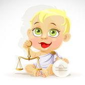 Baby zodiac - teken weegschaal — Stockvector