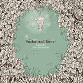 Frame for text decoration Enchanted Forest with a flashlight and — Vector de stock