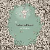 Marco de texto decoración enchanted forest con una linterna y — Vector de stock