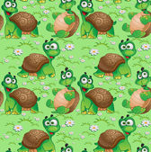 Seamless pattern with cartoon turtles on a green meadow with dai — Stock Vector