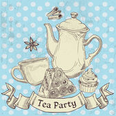 Vintage grunge banner sweets and tea - tea party — Stock Vector