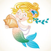 Cute little mermaid holding a shell — Stock Vector