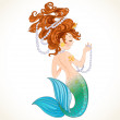 Cute little mermaid with pearl — Stock Vector #29017167