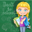 Back to school - cute girl with school books at the blackboard — Stock Vector #29072119
