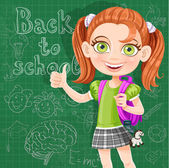 Back to school - cute girl at the blackboard — Stock Vector