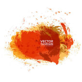 Abstract brush strokes of orange and red paint on white paper ba — Stock Vector