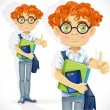 Cute boy in glasses with textbooks — Stock Vector