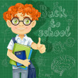 Cute boy in glasses near the blackboard — Stock Vector