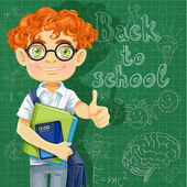 Cute boy in glasses near the blackboard — Stock Vector