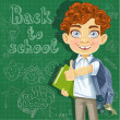 Stock Vector: Back to school - curly-haired boy with books at the blackboard