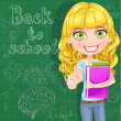 图库矢量图片: Back to school - Cute teen girl shows OK at blackboard