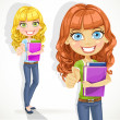 Cute teen girl with wavy hair shows OK — Imagen vectorial