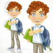 Stock Vector: Cute curly-haired boy with books and school backpack