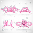 Stock Vector: Pink tiaras set with hearts for carnival costume to the angel an