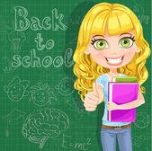 Back to school - Cute teen girl shows OK at the blackboard — Stock Vector