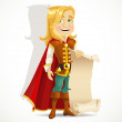 Cute blond prince with a scroll of parchment for your banner — Stock Vector