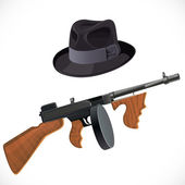 Fedora hat and a Thompson gun for a retro party isolated on whit — Stock Vector