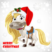 Merry Christmas card with cute white baby horse — Stock Vector