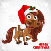 Cute Santa Horse on Christmas card — Stock Vector