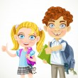 Cute schoolboy and schoolgirl ready to new school year — Stock Vector