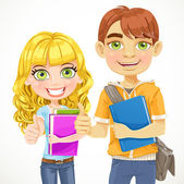 Cute boy and girl teenagers are ready for the new school year — Stock Vector