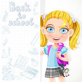 Cute schoolgirl hold big banner — Stock Vector